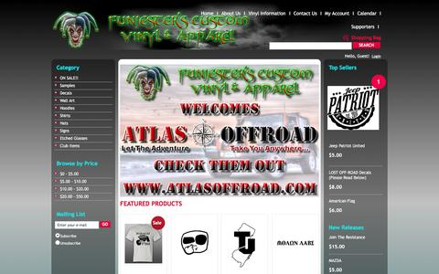 Screenshot of Home Page funjester.com - Welcome to Funjester's Custom Vinyl & Apparel  - - captured March 24, 2016