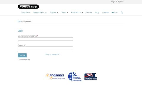 Screenshot of Login Page rotorcorp.com - My Account - Rotorcorp - captured Nov. 6, 2017
