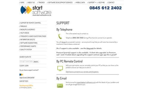 Screenshot of Support Page start-software.com - Support - Start Software - Software Development Services - captured Oct. 1, 2014