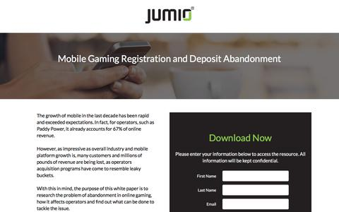 Screenshot of Landing Page jumio.com - How Retailers Can Cash in on Mobile Commerce - captured April 1, 2018