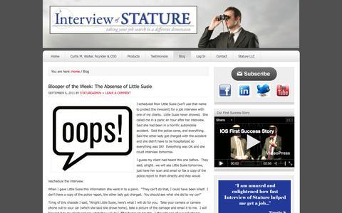 Screenshot of Blog interviewofstature.com - Interview of Stature — Blog - captured Sept. 30, 2014
