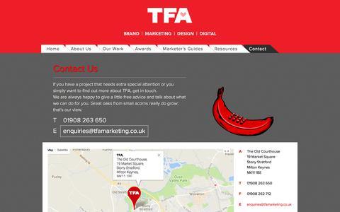 Screenshot of Contact Page t-f-a.co.uk - Contact Us   Creative Agency   TFA - captured Nov. 8, 2017