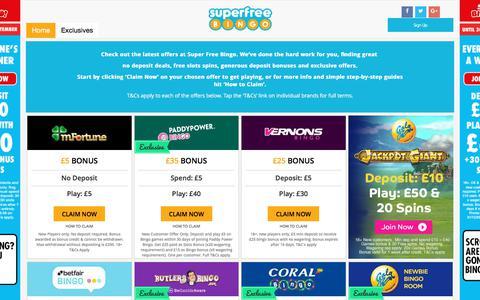 Screenshot of Home Page superfreebingo.com - Super Free BingoFree Bingo | Online Bingo | Super Free Bingo - captured Sept. 21, 2018