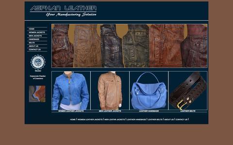 Screenshot of Home Page asphan.com - Asphan Leather | Leather Jackets | Leather Handbags | Leather Belts - captured Oct. 4, 2014