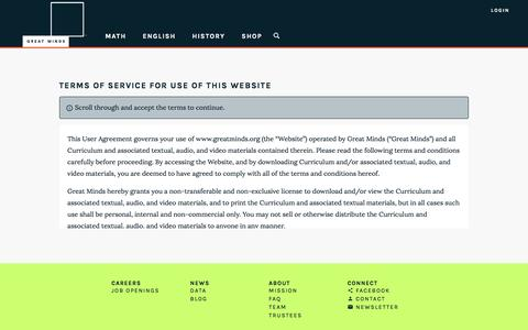 Screenshot of Terms Page greatminds.org - Great Minds - captured Dec. 27, 2016