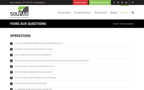 Screenshot of FAQ Page solpak.ca - Foire aux questions | Solpak - captured July 23, 2017