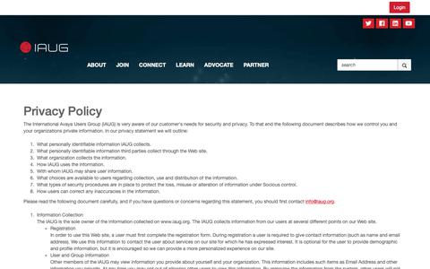 Screenshot of Privacy Page iaug.org - Privacy Policy - International Avaya Users Group - captured Oct. 3, 2018