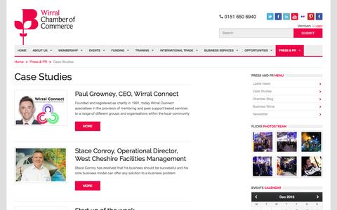 Screenshot of Case Studies Page wirralchamber.co.uk - Wirral Chamber of Commerce :: Press & PR :: Case Studies - captured Dec. 17, 2016