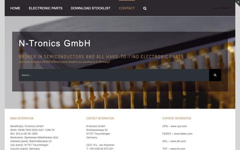 Screenshot of Contact Page n-tronics.com - N-tronics has resistors in its own warehouse in Germany - captured Oct. 18, 2018
