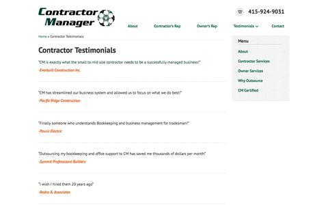 Screenshot of Testimonials Page contractormanager.com - Contractor Testimonials   Contractor Manager - captured March 14, 2016