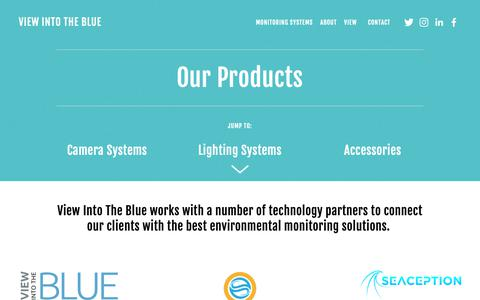 Screenshot of Products Page viewintotheblue.com - Products — View Into the Blue - captured Oct. 20, 2018