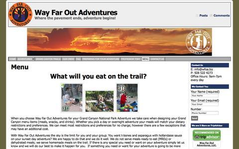 Screenshot of Menu Page wayfaroutadventures.com - Grand Canyon Menus - captured Oct. 1, 2014