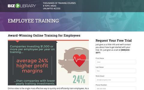 Screenshot of Landing Page bizlibrary.com - Online Employee Training | BizLibrary - Employee Training Made Easy - captured Aug. 24, 2016