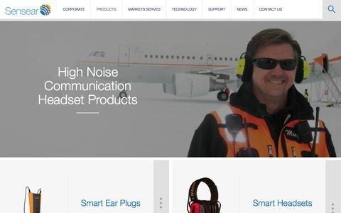 Screenshot of Products Page sensear.com - Two Way Radio Headset | Noise Cancelling Bluetooth Headsets | Products - captured Oct. 29, 2014