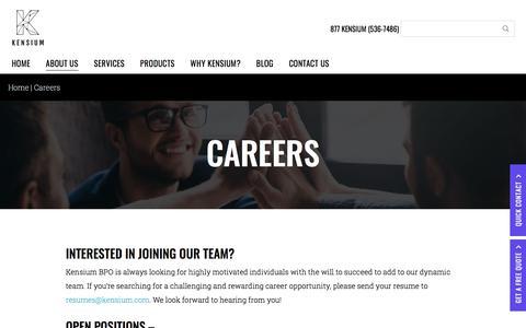 Screenshot of Jobs Page kensiumbpo.com - Careers at Kensium BPO - captured Jan. 16, 2018
