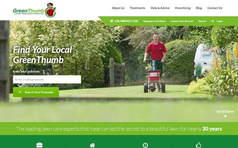Screenshot of Home Page greenthumb.co.uk - The Leading Lawn Care Provider - GreenThumb - captured June 18, 2015
