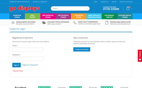 Screenshot of Login Page go-displays.co.uk - Customer Login - captured Feb. 21, 2020