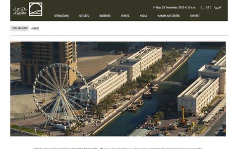 Screenshot of Contact Page alqasba.ae - Al Qasba   Contact - captured Dec. 24, 2015