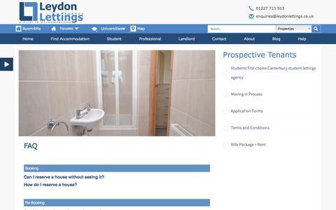 Screenshot of FAQ Page leydonlettings.co.uk - FAQ   Leydon Lettings Agency - captured July 13, 2016