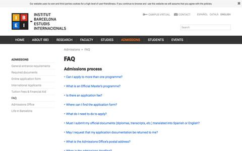 Screenshot of FAQ Page ibei.org - FAQ | Institut Barcelona d'Estudis Internacionals (IBEI) - captured July 11, 2017