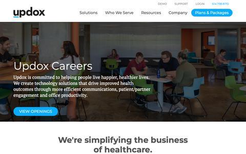 Screenshot of Jobs Page updox.com - (1) New Message! - captured Nov. 7, 2018