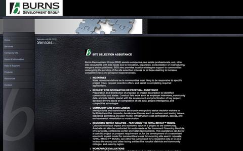 Screenshot of Services Page burnsdevelopmentgroup.com - Services | Burns Development Group - captured July 31, 2016