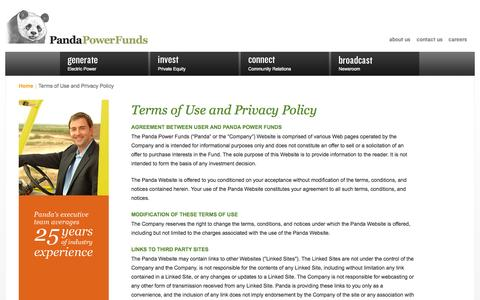 Screenshot of Privacy Page pandafunds.com - Terms of Use and Privacy Policy | Panda Power Funds - captured Oct. 1, 2014