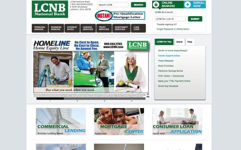 Screenshot of Home Page Privacy Page Contact Page Jobs Page FAQ Page Site Map Page Support Page lcnb.com - LCNB National Bank – Your Hometown Banks in Cincinnati, Dayton, and Lebanon Ohio - captured Sept. 19, 2014