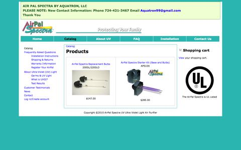Screenshot of Products Page airpalspectra.com - Products | AirPal Spectra UV Light Air Purifier - captured July 2, 2018