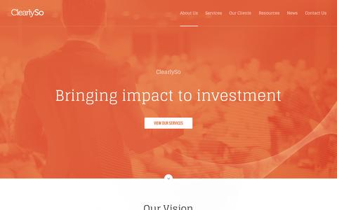 Screenshot of Home Page clearlyso.com - ClearlySo | Impact Investment - captured July 21, 2015