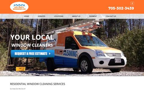 Screenshot of Services Page gotdirtywindows.ca - GotDirtyWindows.ca | Residential - captured Sept. 29, 2018
