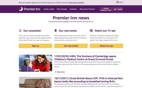 Screenshot of Press Page premierinn.com - Our Latest News | Premier Inn - captured Jan. 23, 2018