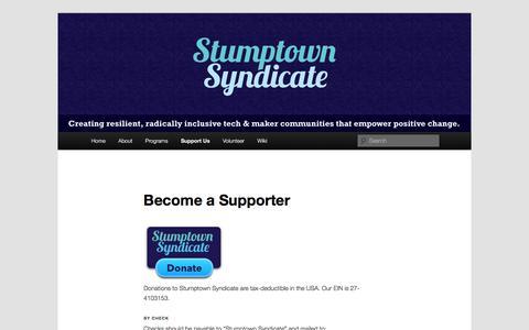 Screenshot of Support Page stumptownsyndicate.org - Become a Supporter | Stumptown Syndicate - captured Dec. 18, 2016