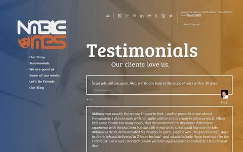 Screenshot of Testimonials Page nimbleimps.com - Symfony Development, Zend Framework Development, Wordpress Testimonial - captured Oct. 26, 2014