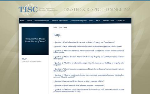 Screenshot of FAQ Page tiscinsagency.com - TISC Insurance Agency - captured Oct. 7, 2014