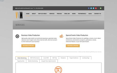 Screenshot of Services Page viralvideokc.com - Video Marketing   Video Production   Services - captured Jan. 28, 2016