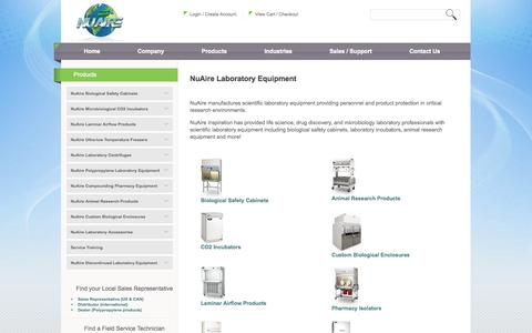 Screenshot of Products Page nuaire.com - NuAire Laboratory Equipment | Scientific Lab Equipment | NuAire - captured Oct. 7, 2014