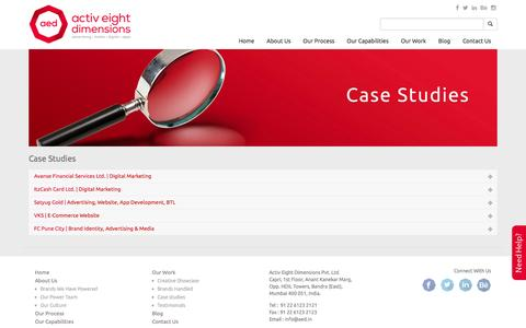 Screenshot of Case Studies Page aed.in - Case Studies   Activ Eight Dimensions Pvt. Ltd. - captured Feb. 5, 2016