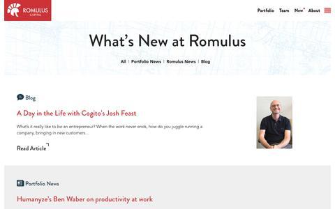 Screenshot of Press Page romuluscap.com - Newsroom - Romulus Capital - captured Oct. 23, 2017
