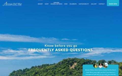 Screenshot of FAQ Page arenasdelmar.com - Frequently Asked Questions - Arenas del Mar Resort - captured Sept. 22, 2018