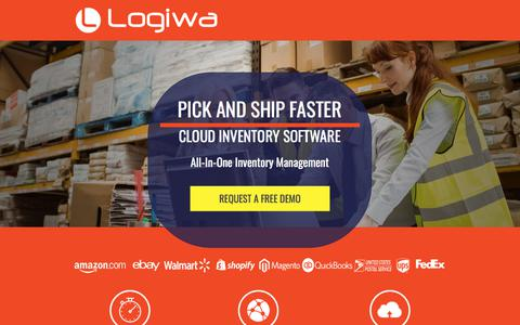 Screenshot of Landing Page logiwa.com - Cloud-based Small Business Inventory Management System for Retail, eCommerce, 3pl and wholesale - captured April 9, 2018