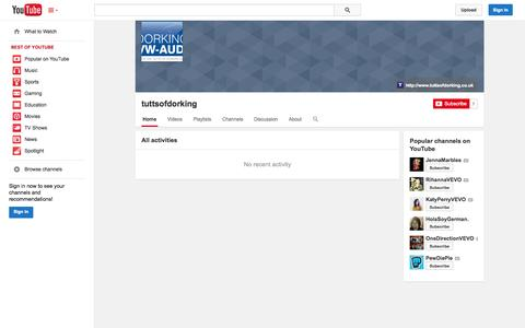 Screenshot of YouTube Page youtube.com - tuttsofdorking  - YouTube - captured Nov. 4, 2014