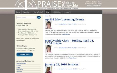 Screenshot of Blog praisepcf.org - Blog - Praise Christian Fellowship - captured Nov. 9, 2016