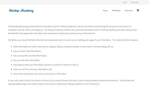 Screenshot of Privacy Page startupacademy.org.uk - privacy & cookies – Startup Academy - captured Oct. 20, 2018