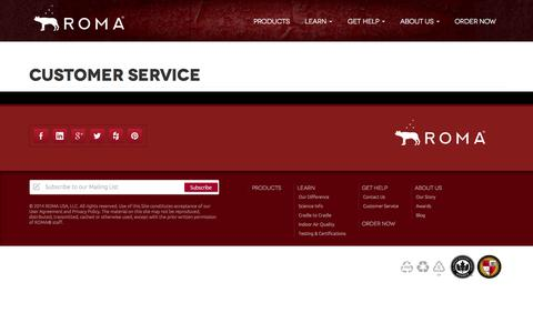 Screenshot of Support Page romabio.com - Customer Service « ROMA USA, LLC - captured Nov. 3, 2014