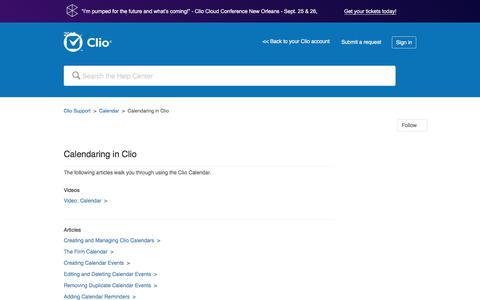 Screenshot of Support Page clio.com - Calendaring in Clio – Clio Support - captured Sept. 21, 2017
