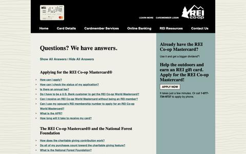 Screenshot of FAQ Page reimastercard.com - REI Co-op Mastercard® - Frequently Asked Questions - captured Nov. 1, 2018