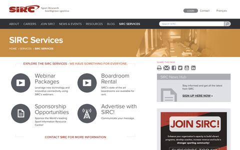 Screenshot of Services Page sirc.ca - SIRC Services | SIRC - captured Oct. 29, 2014