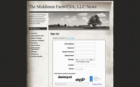 Screenshot of Signup Page middletonfarmcsa.com - Signup - The Middleton Farm CSA, LLC  News - captured Oct. 27, 2014