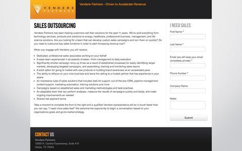 Screenshot of Landing Page venderepartners.com - Sales Outsourcing - captured Oct. 27, 2014
